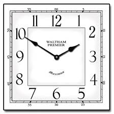 Waltham White Square Clock