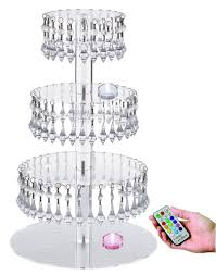 JusalphaR Acrylic Cupcake Tower Stand With Hanging Crystal Bead Wedding Party Cake