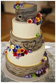 4 Mullti Color Flower Rustic Wedding Cake
