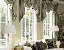 Valances Curtains For Living Room by Blinds Swag Curtain Valance Over Wood Blinds Inside Living Room