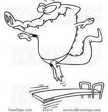 Cartoon Black And White Line Drawing Of A Gator Bouncing Off Diving Board 3374 By Ron Leishman