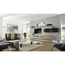 wohnwand set mit sideboard chur 61 in hochglanz schwarz mit eiche hell inkl led b h t ca 280 200 48 cm