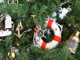 Hampton Nautical Chrome Ship Wheel Compass Christmas Tree Ornament