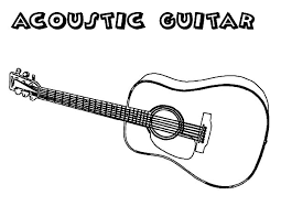 Acoustic Guitar Colouring Page
