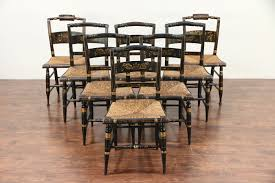 100 Dining Chairs Painted Wood Set Of 8 Antique Hitchcock Stencil Hand Rush Seat