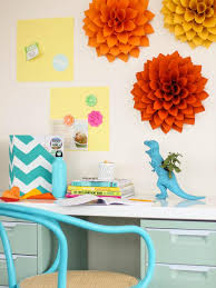 Bedroom Stunning Wall Accessories Of Paper Fake Flower Above Study Table As Cute Diy Room