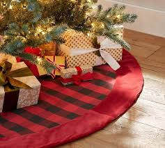 Buffalo Check Tree Skirt With Red Velvet Cuff