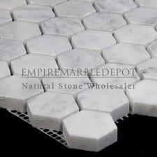 1 hexagon mosaic tile polished white carrara marble bianco