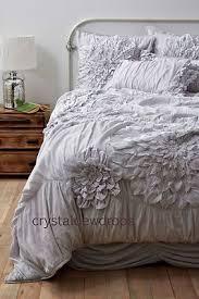 Anthropologie Bed Georgina Duvet Cover King set 4 Shams bedskirt Grey free ship