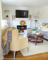 Transitional Living Room Furniture by Colorful Transitional Living Room Makeover Four Generations One Roof