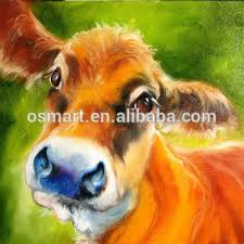Famous Artist Hand Painted High Quality Cute Animal Cow Canvas Art Oil Painting On Handmade