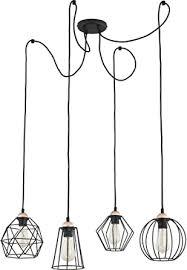 pendelleuchte schwarz e27 4 flammig drahtgestell decken le geometrisch frame design modern wohnzimmer hängeleuchte hängele