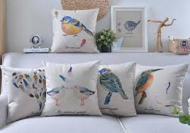 24 X 24 Patio Cushion Covers by Ink Watercolor Bird Feather Cushion Covers Birds Love Printing