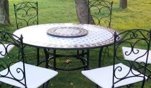 table ronde mosaique fer forge salon de jardin table ronde mosaique rustic view