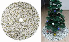 MrXLWhome Christmas Tree Skirt 36 Inch Round Blue And White Holiday Decorations 36inch