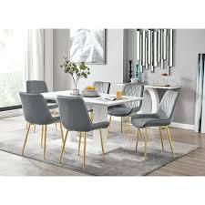 essgruppe caba mit 6 stühlen perspections farbe stuhl grau goldfarben