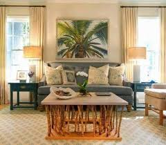 Tropical Living Rooms With Grey Couch And Rustic Coffee Table Wall Paint Palm Tree Art