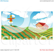 Cartoon Of Hilly Farm Land With Rows Of Crops A Barn And Scarecrow ... Farm Animals Living In The Barnhouse Royalty Free Cliparts Stock Horse Designs Classy 60 Red Barn Silhouette Clip Art Inspiration Design Of Cute Clipart Instant Download File Digital With Clipart Suggestions For Barn On Bnyard Vector Farm Library