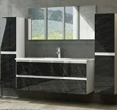 badmöbel set weiss marmor optik hochglanz badezimmermöbel