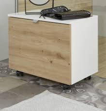 badezimmer sitzcontainer one in hochglanz weiß lack und eiche asteiche badmöbel hocker auf rollen 55 x 47 cm