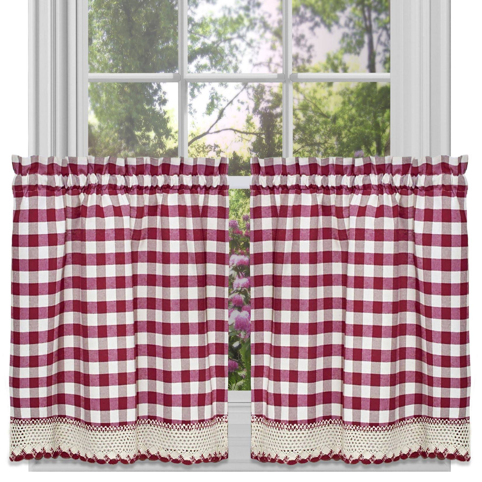 "Achim Buffalo Check Tier Pair 58""x36"" Burgundy"