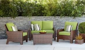 Affordable Outdoor Conversation Sets by Contemporary Outdoor Lounge Sets Belmont 4 Piece Brown Wicker
