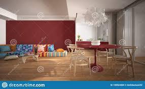 modermodernes farbenfarbenes wohnzimmer mit küche und