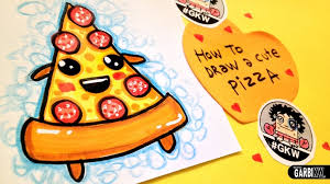 Easy Cute Drawings How To Draw A Cute Pizza Easy And Kawaii Drawings Garbi Kw
