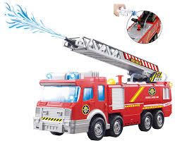 Amazon.com: Top Race Fire Engine Truck With Water Pump Spray ...