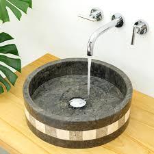 marmor waschbecken mo21 40cm schwarz mit muster kaufen
