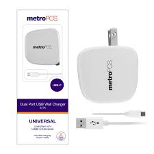 MetroPCS Dual Port USB Wall Charger With USBC Cable White