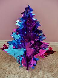 Pink Blue And Mauve Foil Christmas Tree Ceiling Decoration