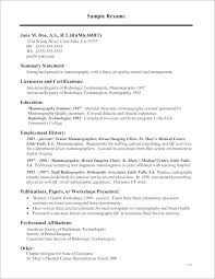 Sample Resume Radiologic Technologist X Ray Tech Rad Examples Job Description
