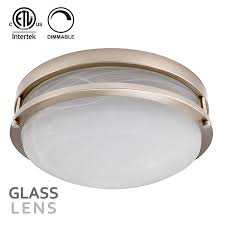13 inch dimmable led flush mount ceiling light satin nickel