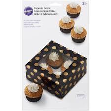 Wilton 4er Cupcake Schachtel Schwarz Gold Gepunktet 3 Stuck 1