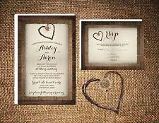 Wedding Invitations Wood Burlap Twine Heart Rustic 50 RSVP Card