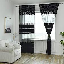 tonsee transparent voile gardinen patchwork streifen durchsichtig vorhänge mit ösen für wohnzimmer schals schlafzimmer vorhänge kinderzimmer