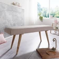 wohnling sitzbank salim stoff massivholz bank beige 117x51x38 cm im retro stil 2er polsterbank flur gepolsterte stoffbank esszimmer braun