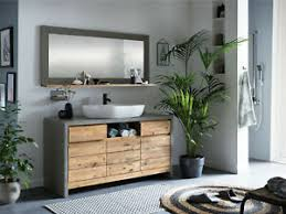 details zu badmöbel set burnham waschtisch mit spiegel holz pinie und betonoptik grau