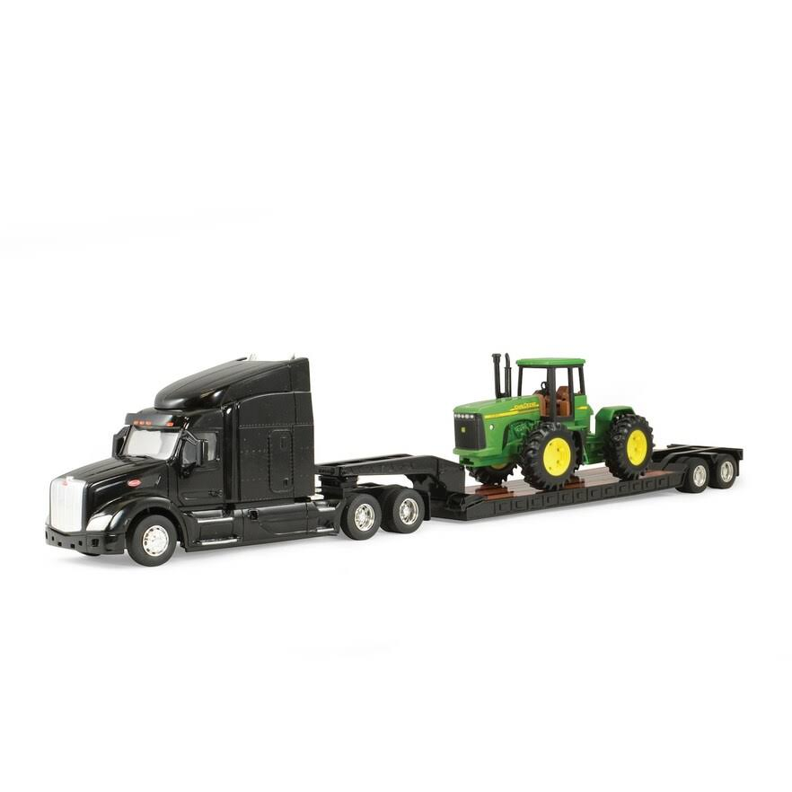 John Deere 46283 Peterbilt 579 Semi With Lowboy Trailer JD 4wd - 1:32 Scale
