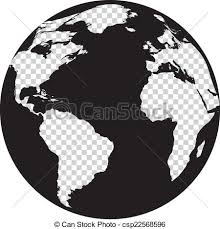 Black and white globe with transparency continents Black eps