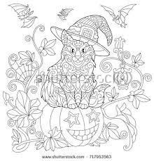 Coloring Page Of Cat In A Hat Sitting On Halloween Pumpkin Flying Bats
