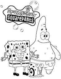 Gary Spongebob Squarepants And Patrick Taking Picture With The Snail Coloring Pages