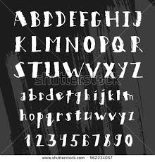 Vector Hand Drawn Alphabet Letters Written With Brush Pen Rustic Grunge Style Doodle