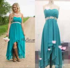 real image country western high low turquoise bridesmaid