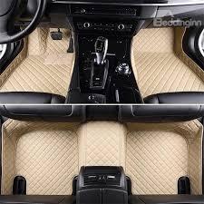 Car Floor Mats by Luxury Series Plaid Trims Design Leather Carpet Custom Fit Car