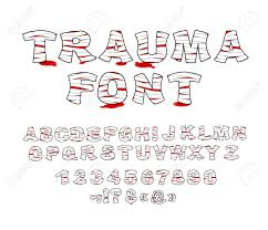 Trauma Font Crippled Letters Wrapped Medical Bandages Traumatized