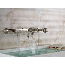 wall mount bathtub waterfall faucet with hand shower