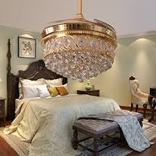 RS Lighting Living Room Crystal Fan Lights Luxury Stealth Blades Ceiling Bedroom Dining