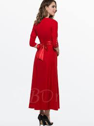 plain 3 4 sleeve buttons decorated women u0027s maxi dress tbdress com